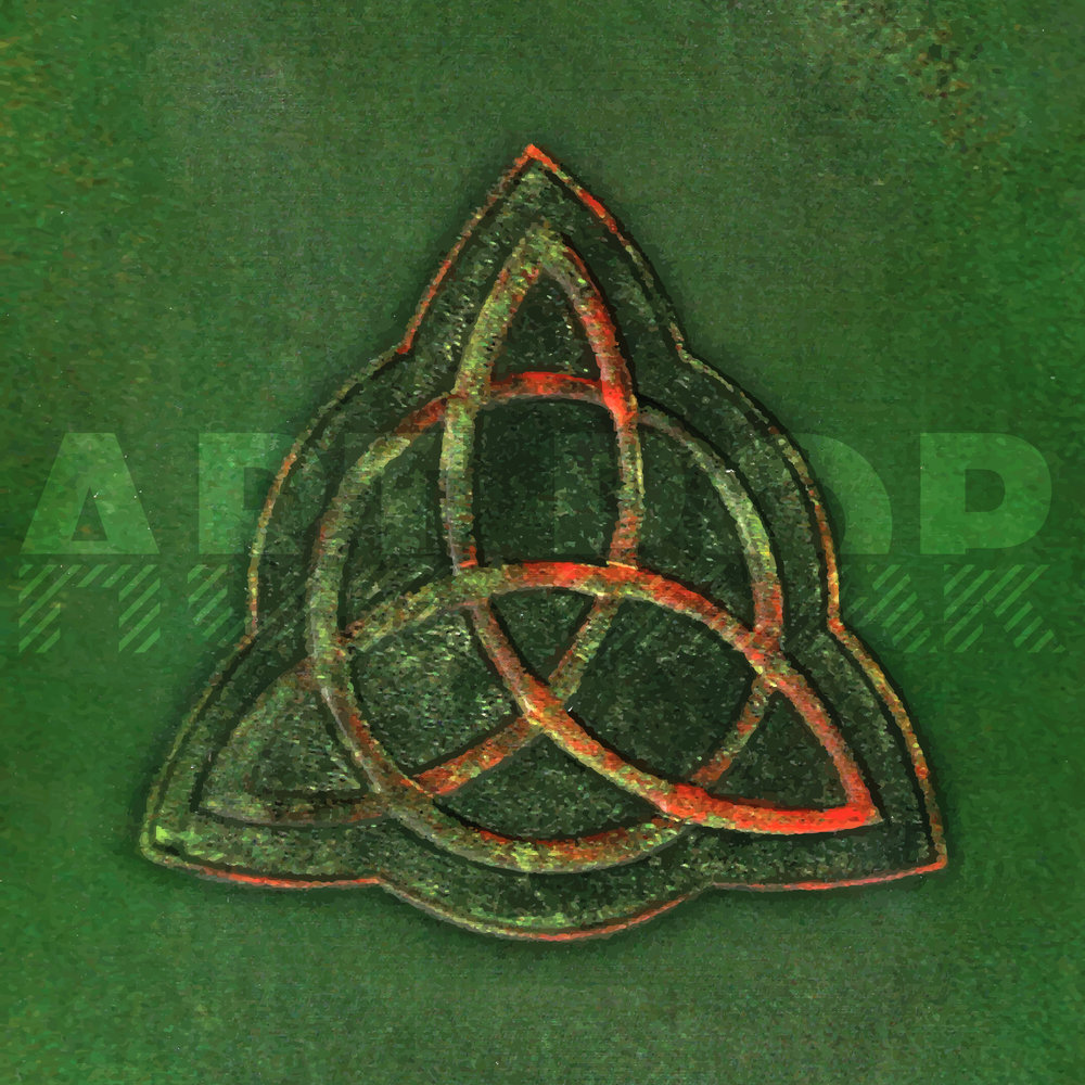 Book of Shadows - The triquetra knot, a widely recognized icon that's been used as a singular symbol for the past two centuries by Celtic Christians, pagans and agnostics as a sign of special things and people that are threefold. (Also, that cute shit from Charmed. It might literally be the only green thing I like.) Available via: DeviantArt | Redbubble | Society6