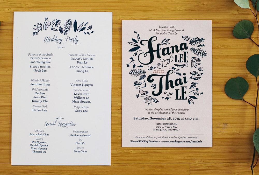 Lee/Le Wedding Invite + Program — JENNIFER JUNG