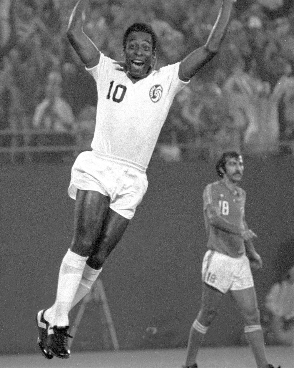 Soccer Cosmos vs Rochester Playoffs - Pele is walking on air.   Photo by Gene Kappock/NY Daily News Archive via Getty Images.