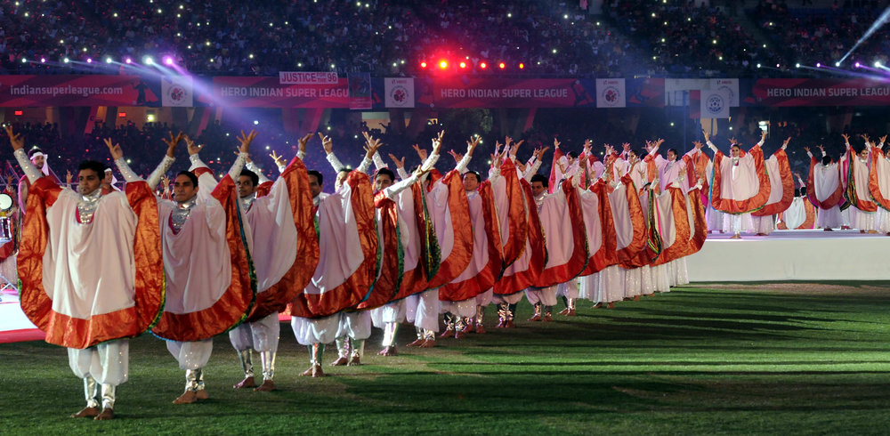 Celebrations at the opening ceremony of the Indian Super League at Vivekananda Yuba Bharati Stadium in October 2014.  Photo by Subhendu Ghosh/Hindustan Times