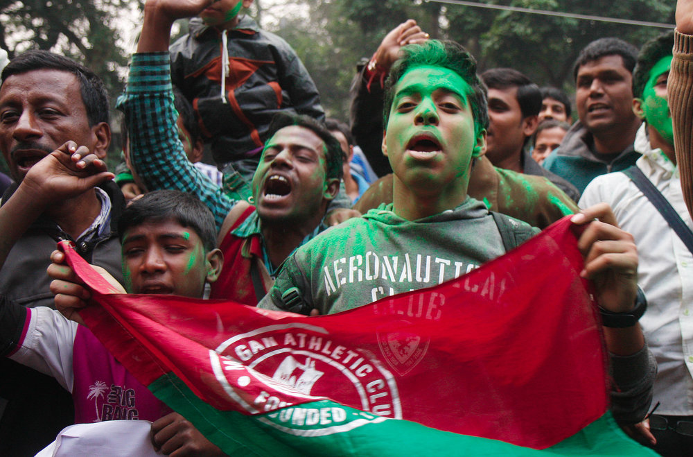 Fans of the I-League's Mohun Bagan FC after a two-year ban on the club was lifted.  Photo by Subhankar Chakrabortty/Hindustan Times via Getty Images