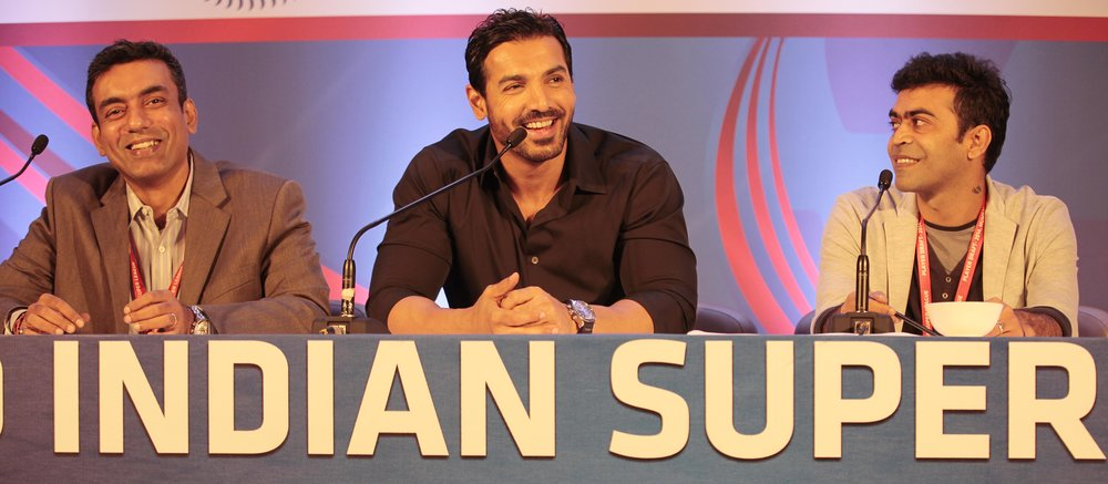 Bollywood star John Abraham is a co-owner of the ISL's NorthEast United FC. He's one of several local celebrities to buy in to the League.  Photo by Anshuman Poyrekar/Hindustan Times via Getty Images