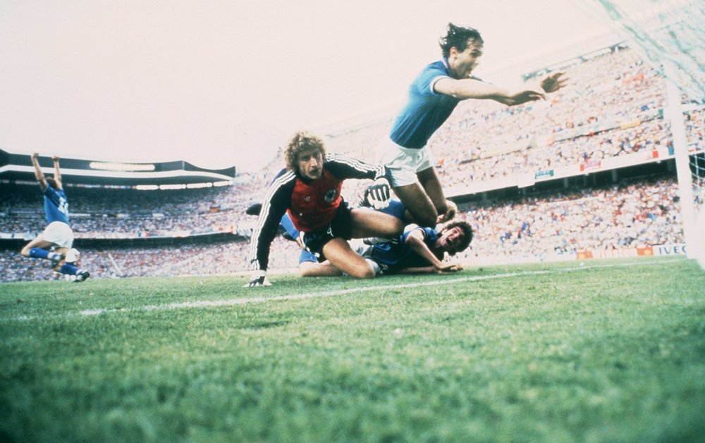 Paolo Rossi celebrates a goal over West Germany in the 1982 World Cup. Italy went on to win the tournament that year.  Photo by Steve Powell/ALLSPORT