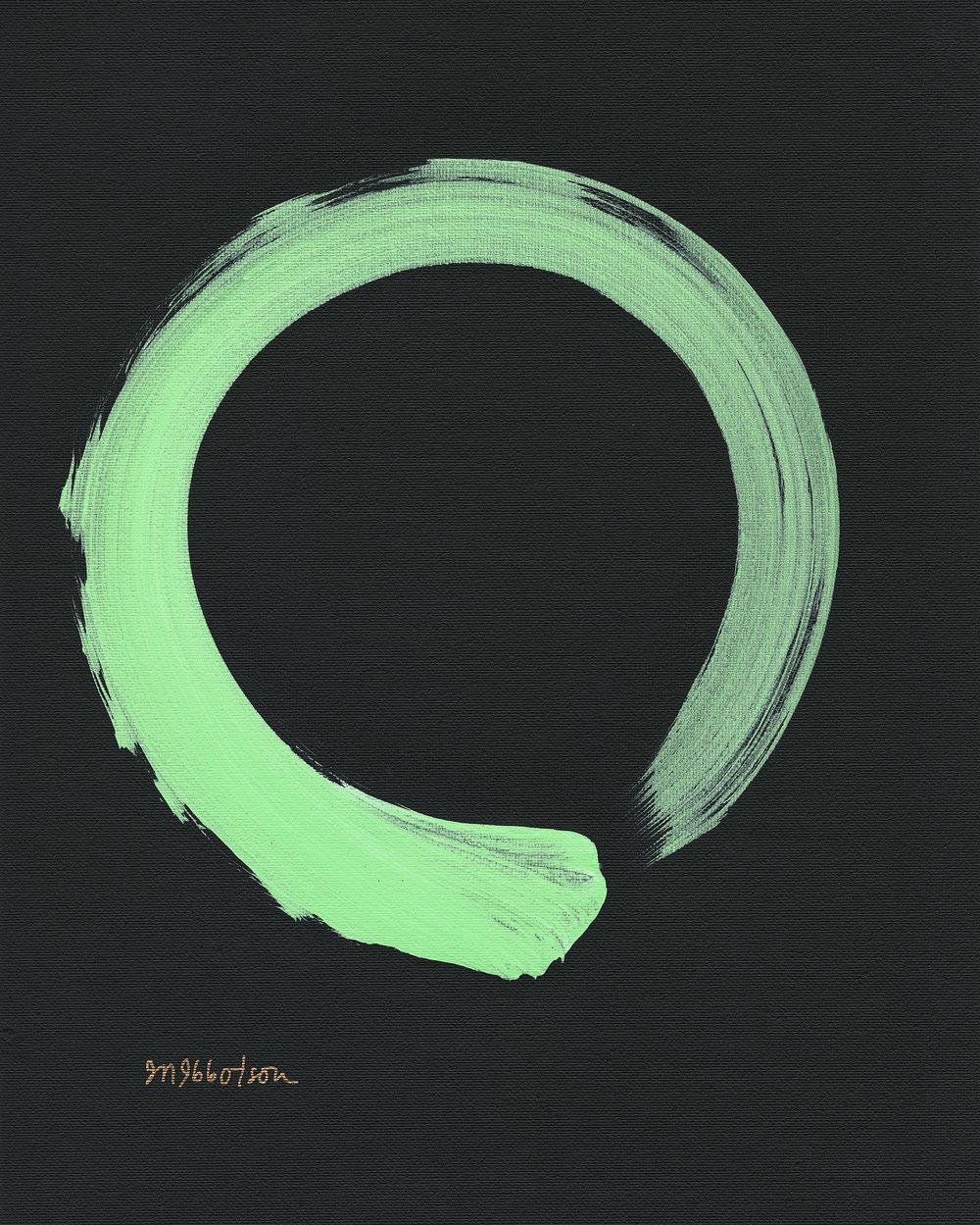 "©Janine Ibbotson, ""Either Everything or Nothing,"" acrylic on canvas,signed, gold ink, lower left, 2018."