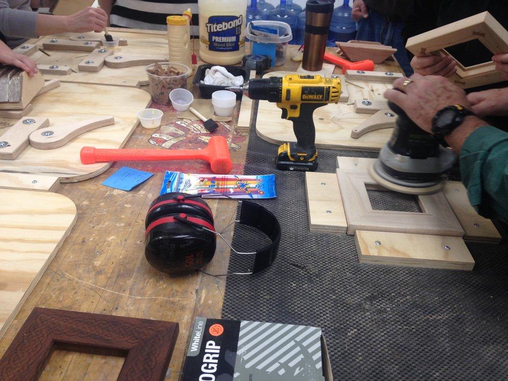 Sanding the back of the frame