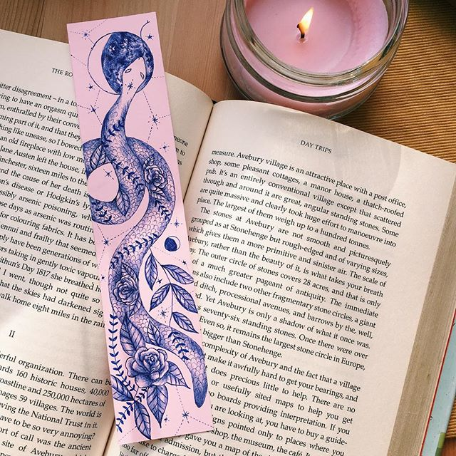 Snake bookmark, ballpoint on paper.