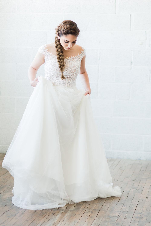 Elegant Blush Pink and Dusty Blue Wedding Tulle Dress Timeless Bride  (3 of 7).jpg