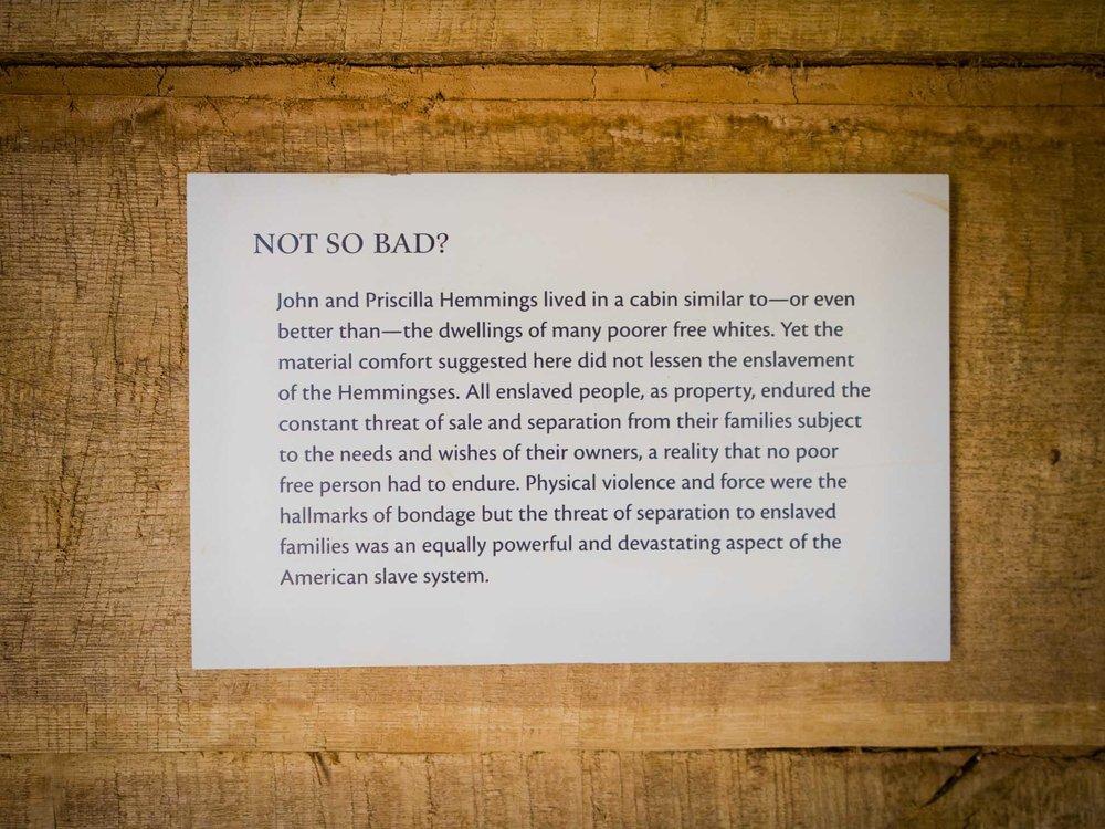 Hemmings Cabin plaque