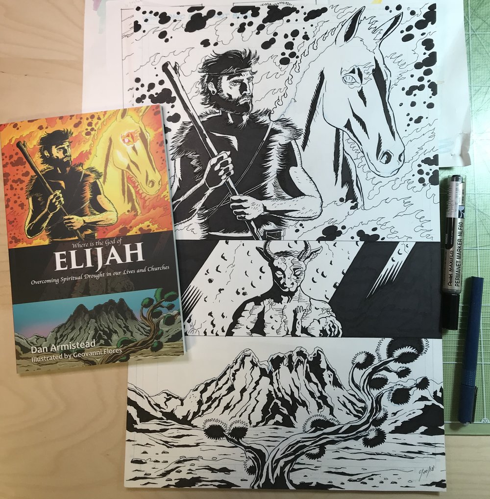 Where is the God of Elijah? - is the second book that I have designed and illustrated in collaboration with Seoul International Baptist Church.Written by SIBC's Senior pastor, Elijah differs from the first book that I worked on because for this project, besides the cover, I did illustrations for the inside of the book. The illustrations as well as signed copies of the book, are on sale here. This is the original artwork, so expect some scruffiness to the artwork such as pencil, and eraser marks.