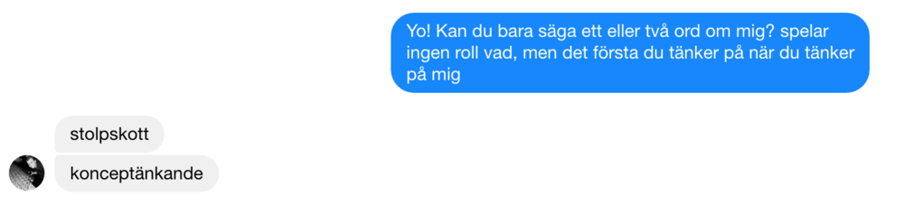 """Me:  Can you say a word or two about me, on top of your head, the first thing you think when you think about me   Friend:  (There is NO translation for """"stolpskott"""", but it basically means """"amazing, hire him"""") Concept-orientated"""