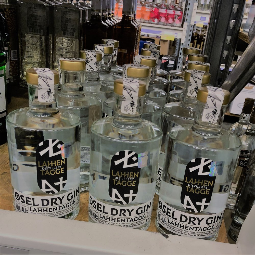Estonian gin Lahhentagge on shop shelf in riga