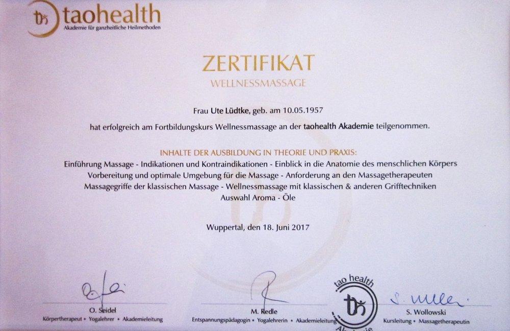 Zertifikate — Wellnessmassage Oberkassel