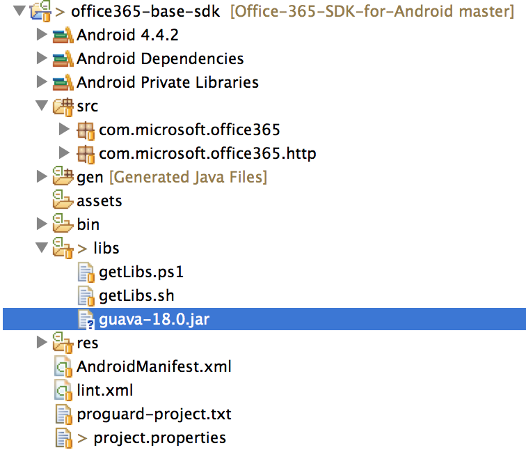 Setting up the Office 365 PREVIEW Android SDK for Eclipse