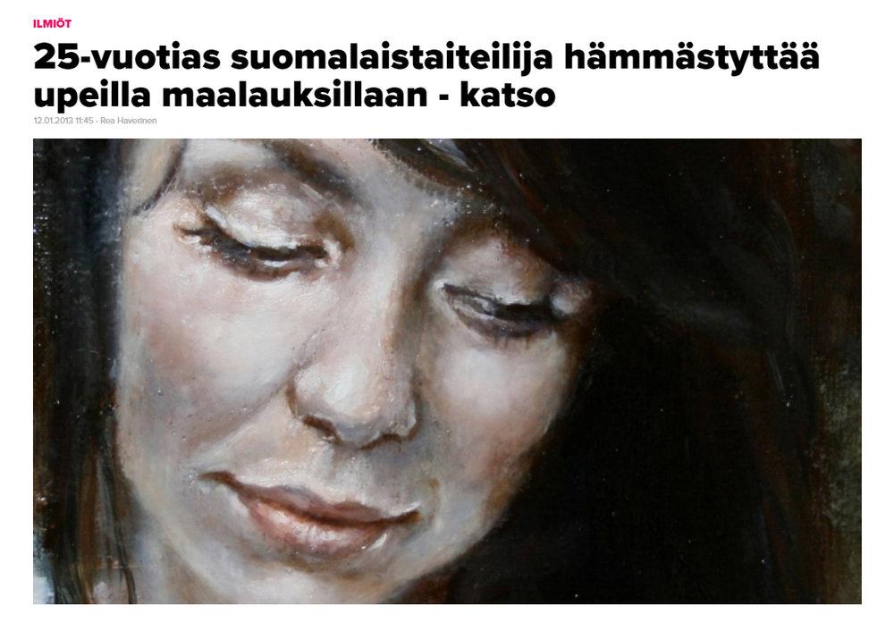 """""""25-vuotias suomalaistaiteilija hämmästyttää upeilla maalauksillaan - katso"""" - Voice 12.01.2013"""