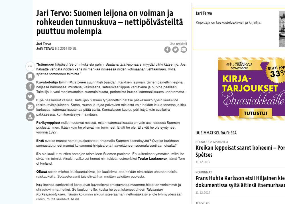 """""""Jari Tervo: Suomen leijona on voiman ja rohkeuden tunnuskuva – nettipölvästeiltä puuttuu molempia"""" - Seura 5.2.2016"""