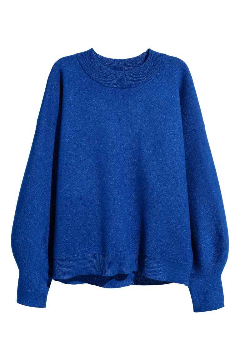 pull bleu electrique azul maille fine - Bleu foncé_scintillant - FEMME _ H&M FR rebajas soldes.jpg
