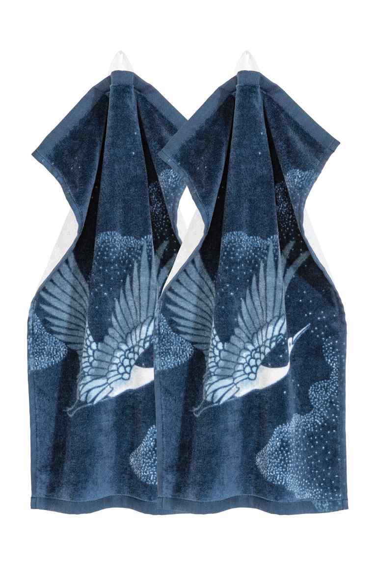 Essuie-mains, lot de 2 - Bleu foncé - Home All  H&M FR.jpg