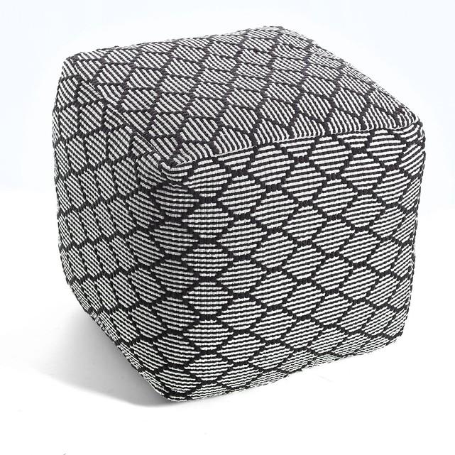 Pouf carré motif reliéfé, amiel noir blanc La Redoute Interieurs en solde.jpg
