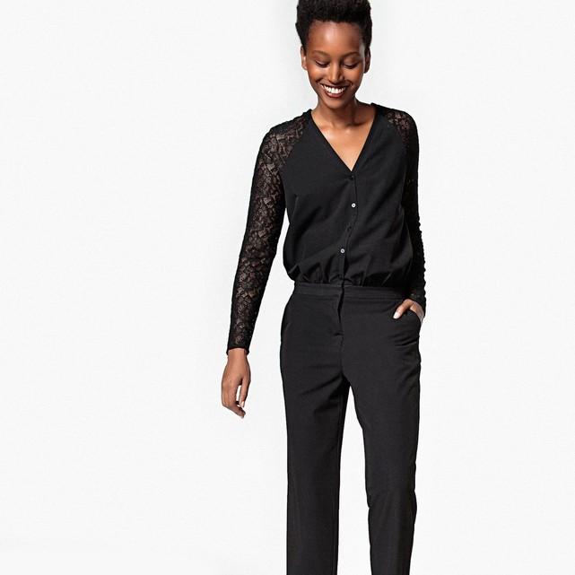 Combinaison pantalon, manches dentelle noir La Redoute Collections en solde.jpg