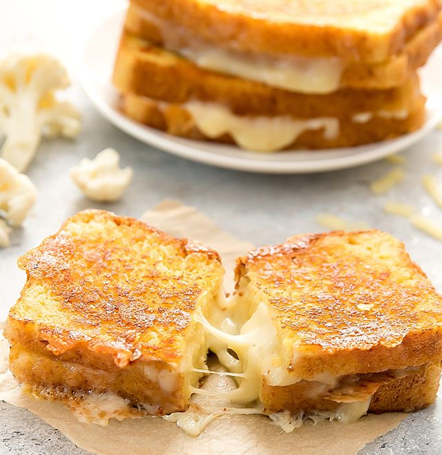Is there anything better than grilled cheese on a dreary Saturday?  YES!! When it's made with our secret white flour alternative- CAULIFLOWER! Check out @kirbiecravings for this divinely delicious sammie! #eatyourveggies #cutyourcarbs