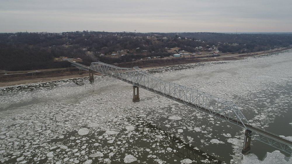 Iced River, Mississippi River Bridge, Chester IL