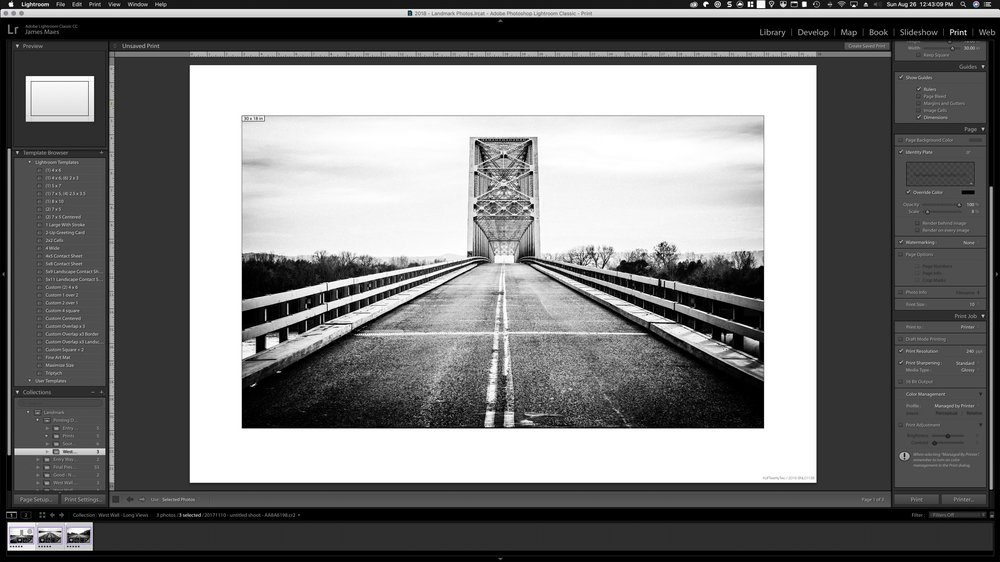 Sunday is a day for printing. Spending the day in Lightroom prepping a project - Mississippi River Life / Chester IL.  #mississippiriver   #canonprinting   #riverbridge   #canonimgprof2000  #canon #lightroom