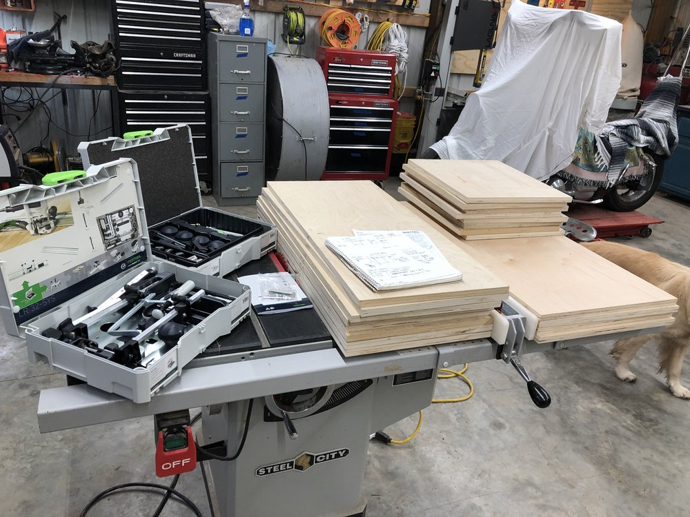 Festool LR32, Festool Clamping Set, Steel City 1.5 HP Table Saw, and Cabinet Sides for new Shop Cabinets