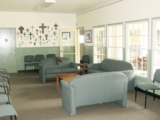 Our lounge is between the parish hall and the outside garden/playground area.