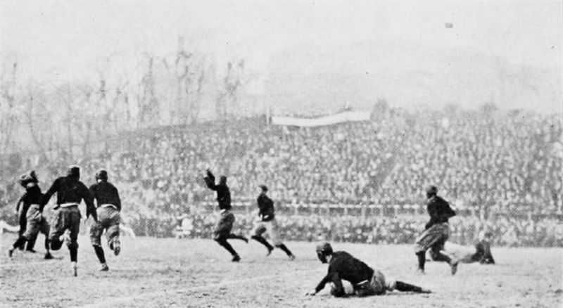 """Cincinnati trying to block Miami's forward pass"" (UC Libraries)"