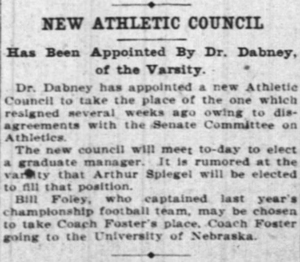 Changes in leadership helped Foley secure the UC job. (Enquirer, 3/14/1906)