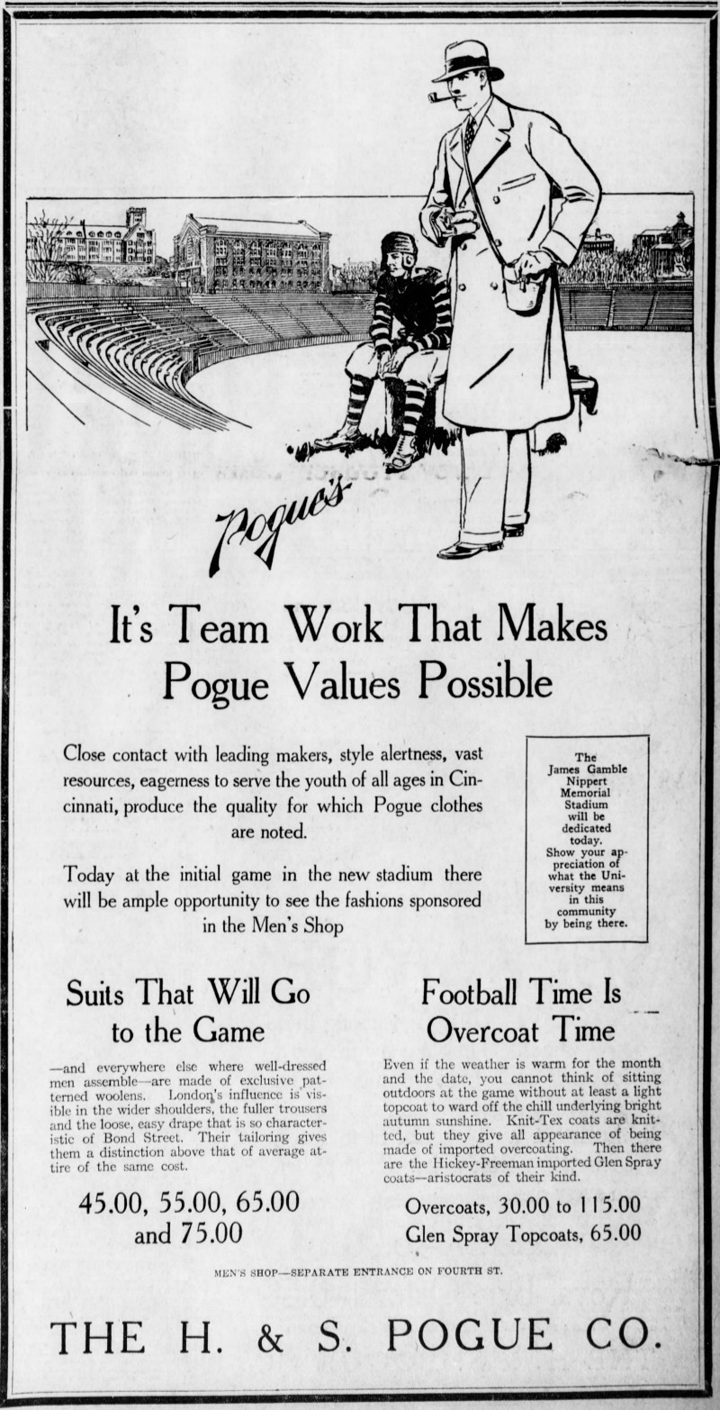 Pogue's advertisement centered around the Nippert dedication ceremony, 1924. (Enquirer)
