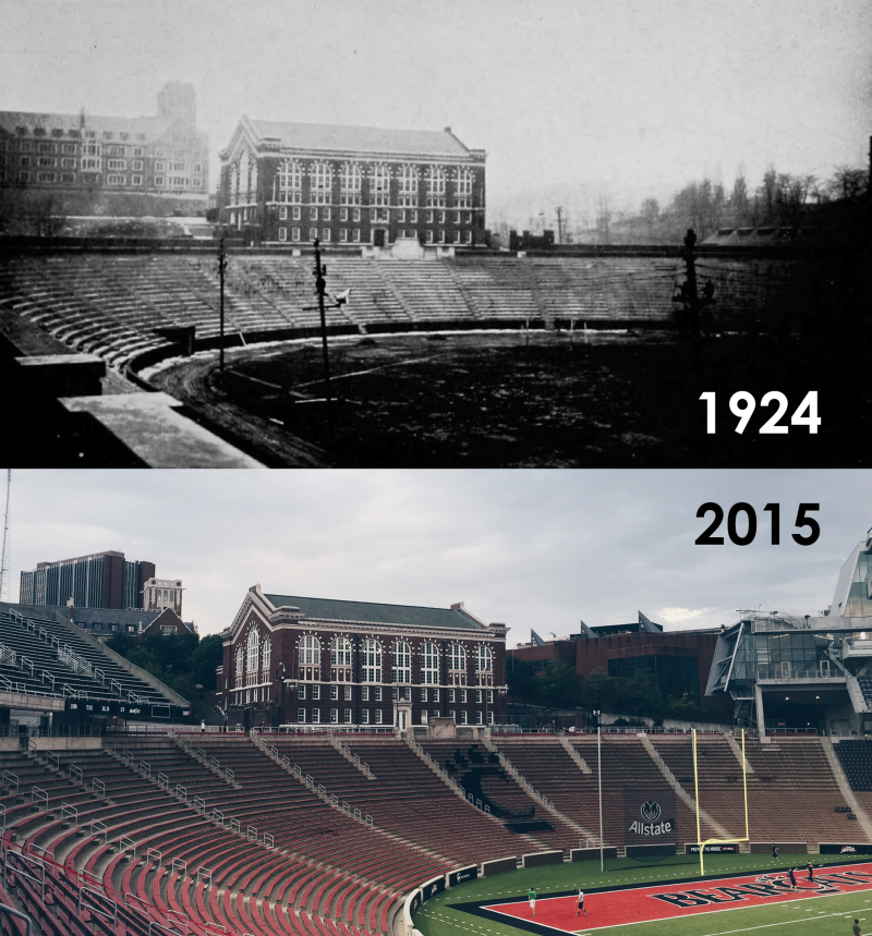 Nippert after completion in 1924 compared to after renovation in 2015. (UC Libraries/Spencer Tuckerman)