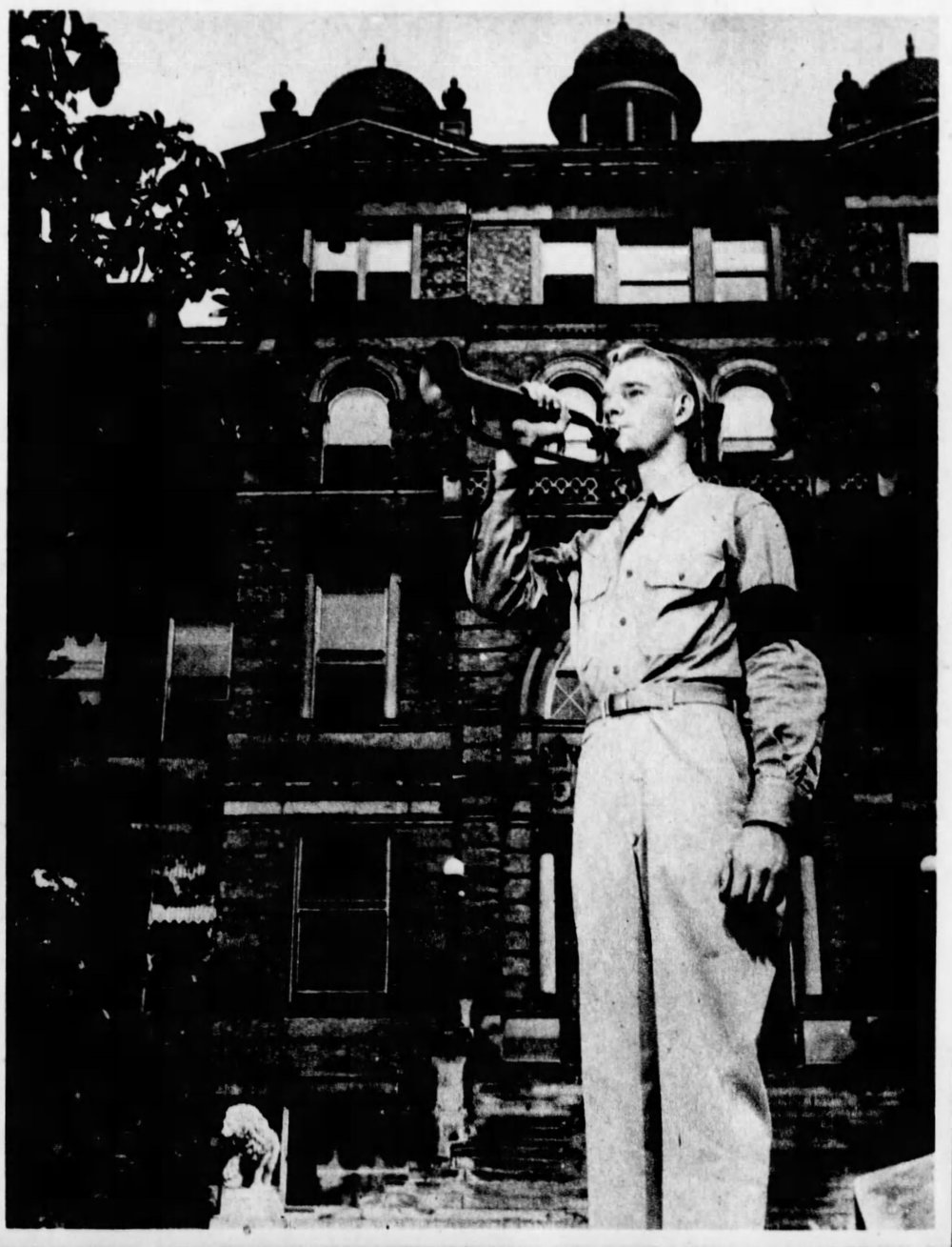 Private William B. Fleming in front of the original McMicken Hall, 1943 [via the Cincinnati Enquirer]