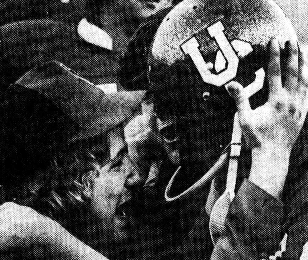 A team manager hugs UC kicker Dan Shepherd following his game-winning field goal in the 1974 UC-Temple game [ Enquirer]