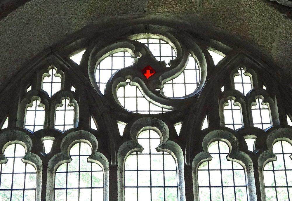 Spiral symbol in east window.JPG