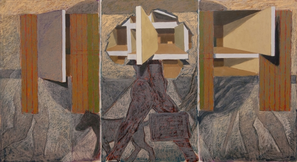 """Procession Oil and oilstick on Mylar 60"""" x 108"""""""