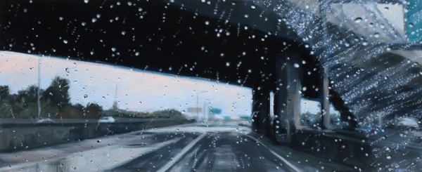 "Overpass I  Oil on Panel 7"" x 17"""