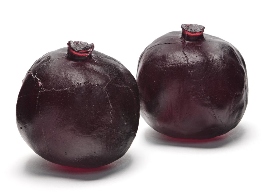 Two Red Pomegranates Cast Glass