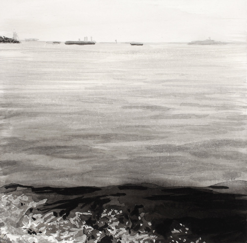 "Horizon with Wave  6"" x 6"" Sumi ink on (Arches) paper"