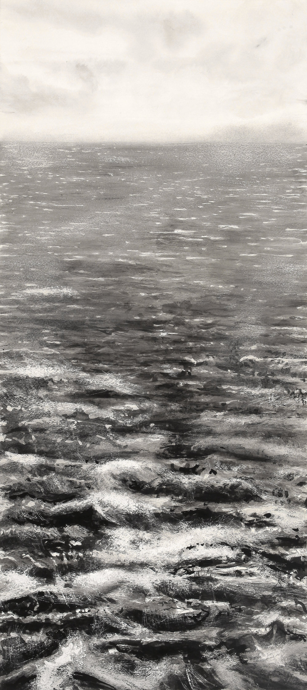 "Rough Water Close by 36"" x 16""  Sumi ink on arches paper"