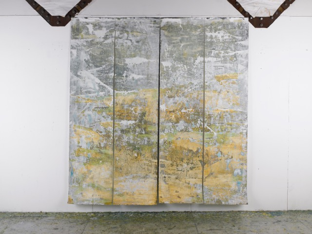 "Permafrost 4 Panels oil, cold wax on paper  94"" x 88"""