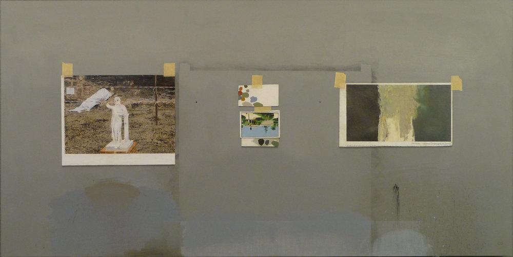 "Still life studio wall   Oil on canvas  24"" x 48"""