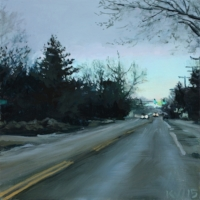 "Northview West  Oil on Panel 4"" x 4"""