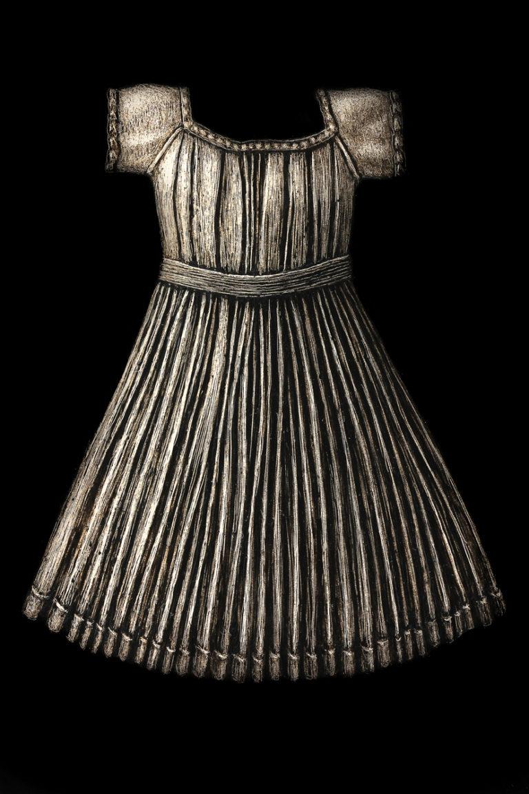 "NYTimes Dress  Encaustic on Panel 12"" x 12"""