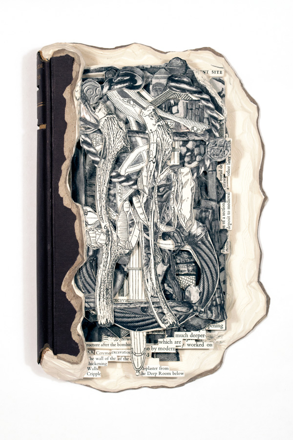 """Recent Archaeological Excavation  Hardcover book, acrylic and varnish  9.75"""" x 6.4"""" x 1.4"""""""