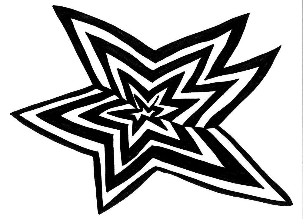 Star Stylin'. 9x 12 in, marker