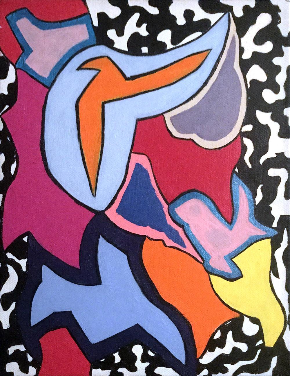 Breaking The Flow. 11x 14 in, acrylic