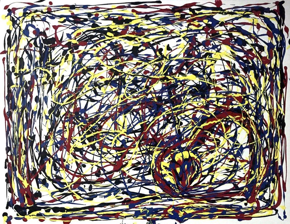 Paths Across Time #2.  36x 48, acrylic