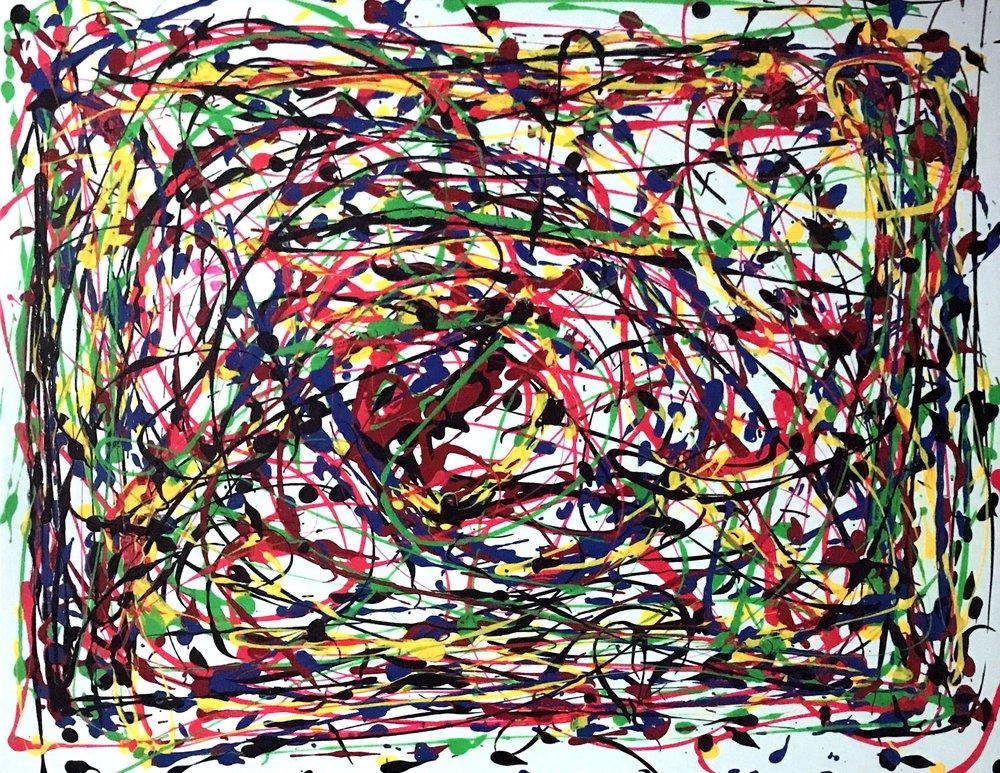 Paths Across Time #1.  36x 48, acrylic