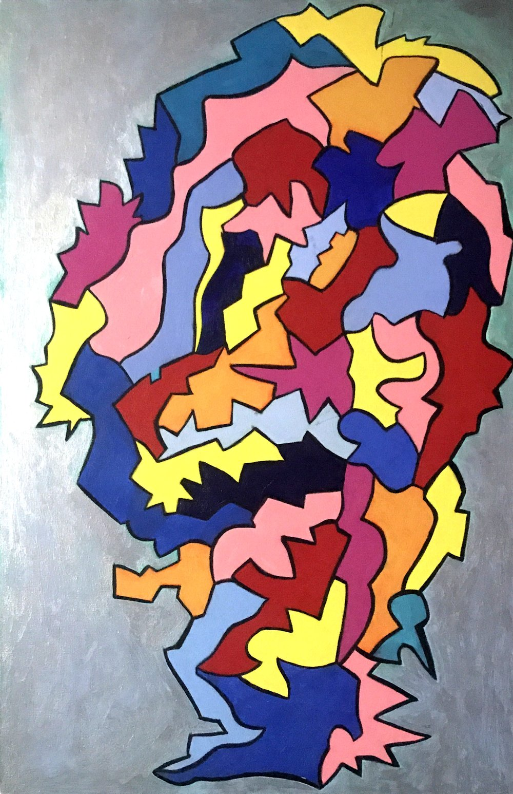 Inner Workings of a Heart. 24x 36 in, acrylic.